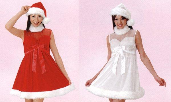 画像1: 大人用 サンタドレス ワンピース シースルー (1)